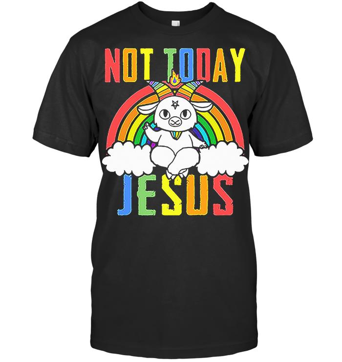 Satan Baphomet Lgbt Not Today Jesus T Shirt
