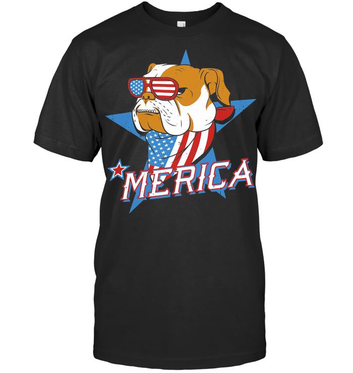 Bulldog Merica American Flag Independence Day T Shirt