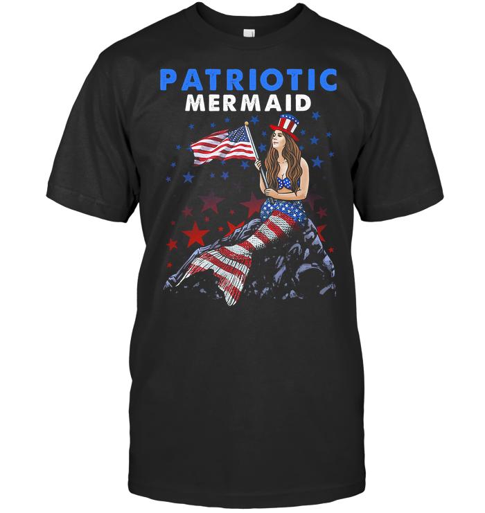 Patriotic Mermaid American Flag T Shirt