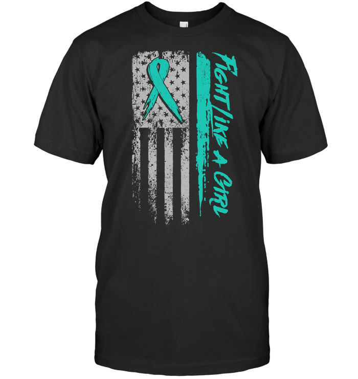 Fight Like A Girl Flag American Myasthenia Gravis Awareness Peach Ribbon Warrior T Shirt