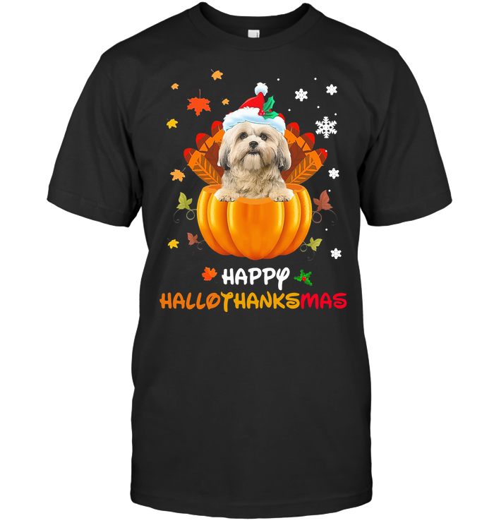 Shih Tzu Pumpkin Happy Hallothanksmas T Shirt Classic Men's T-shirt
