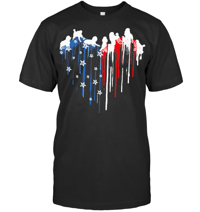 Dog Heart American Flag Veteran Independence Day T Shirt