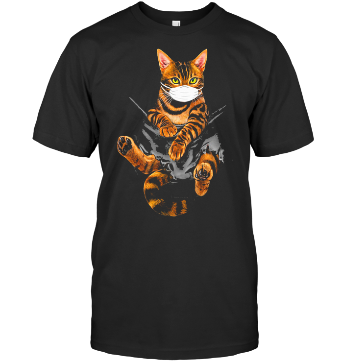 Bengal Cat Face Mask In The Pocket T Shirt Classic Men's T-shirt