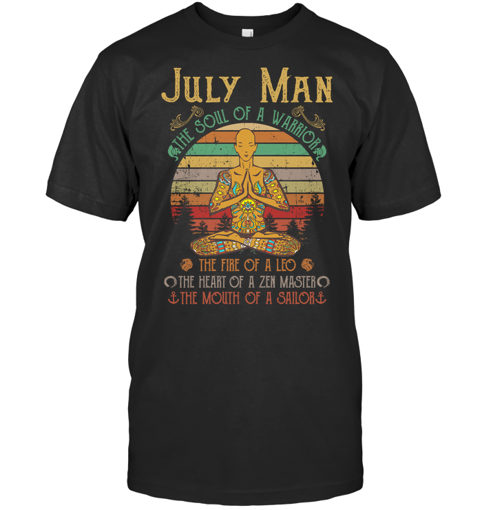 Yoga July Man The Soul Of A Warrior The Fire Of A Leo The Heart Of A Zen Master Vintage T Shirt
