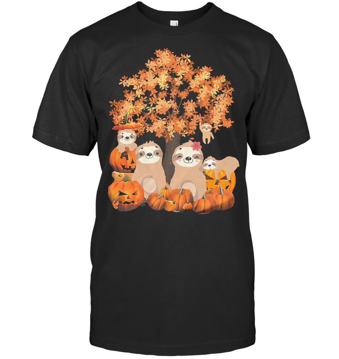Sloths Gang Pumpkins Fall T Shirt