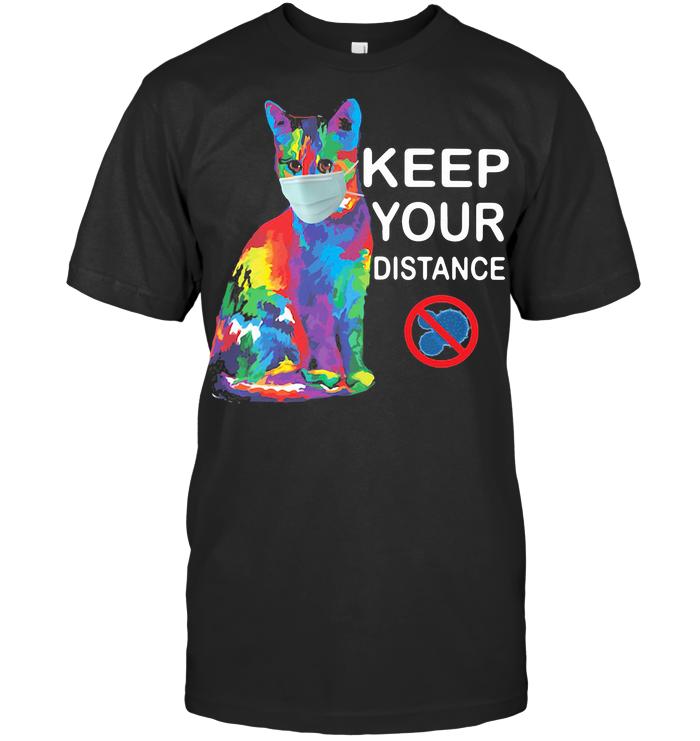Art Cat Keep Your Distance Anti Coronavirus T Shirt