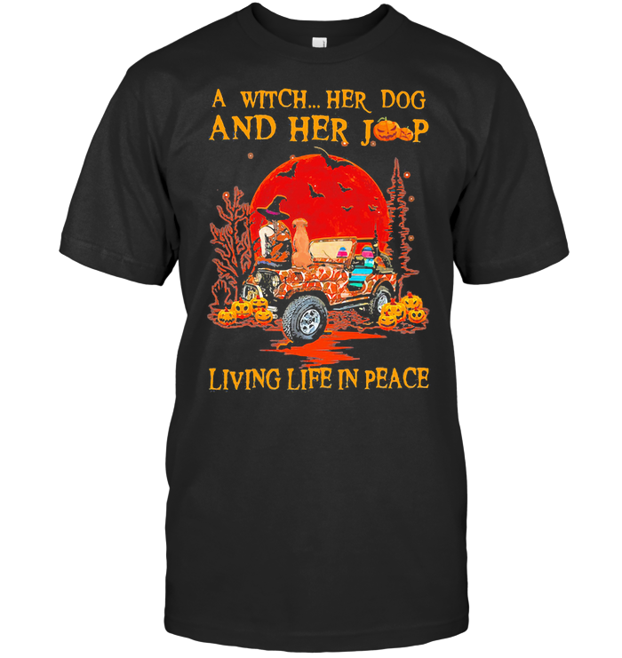 A Witch Her Dog And Her Living Life In Peace Halloween Blood Moon T Shirt Classic Men's T-shirt