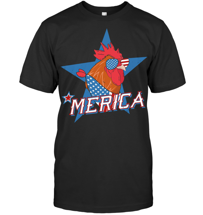 Rooster Merica American Flag T Shirt Classic Men's T-shirt