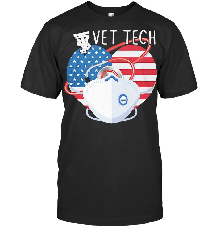 Proud Vet Tech American Flag Heart T Shirt