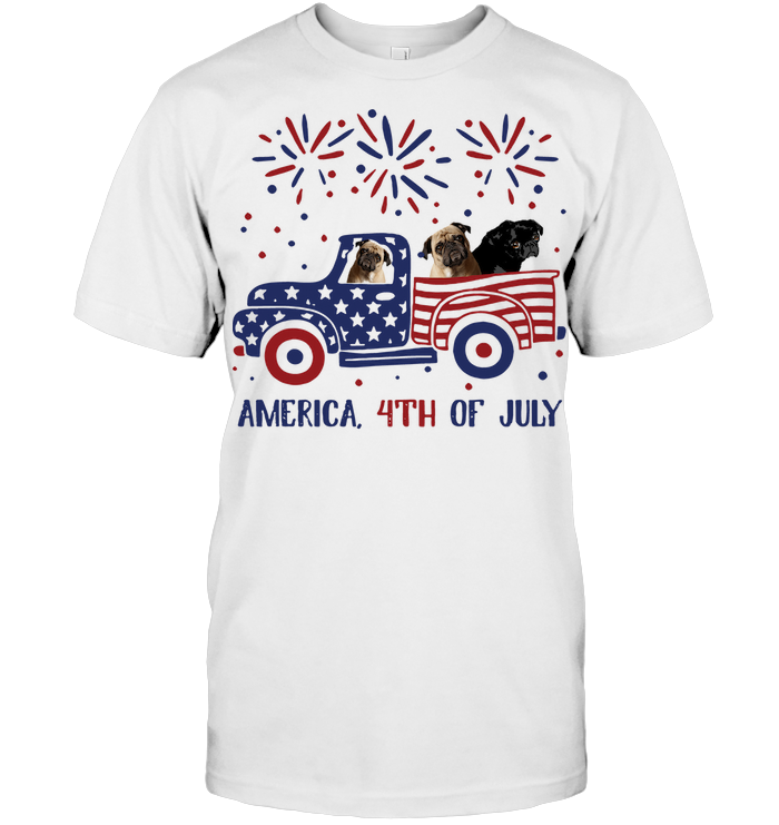 Bulldog Truck America 4Th Of July Independence Day T Shirt
