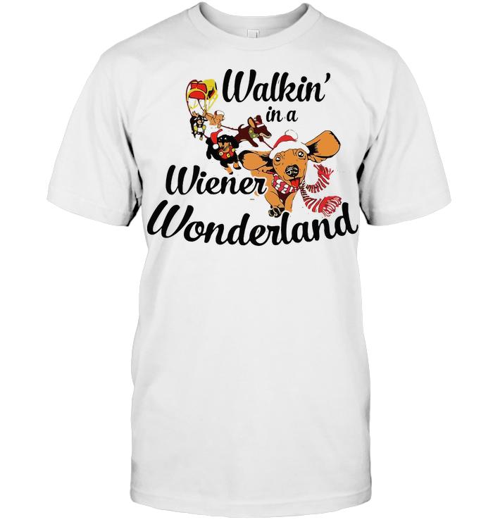 Dachshund Walkin In A Wiener Wonderland T Shirt