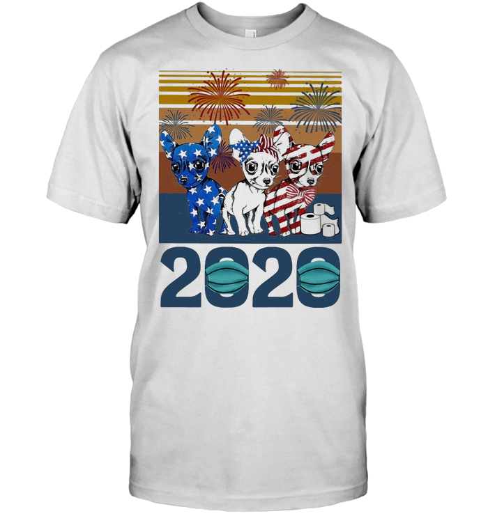 Chihuahua 2020 Mask American Flag Veteran Independence Day Vintage T Shirt