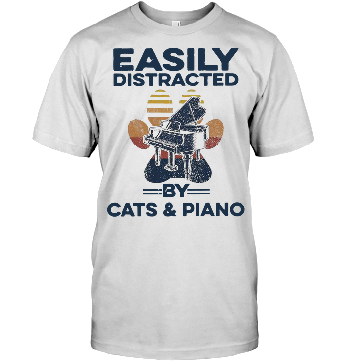 Easily Distracted By Cat Paw And Piano Vintage T Shirt Classic Men's T-shirt