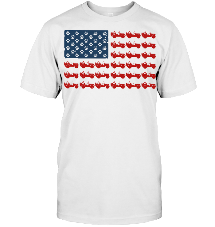 Jeeps Paw Dog American Flag T Shirt Classic Men's T-shirt