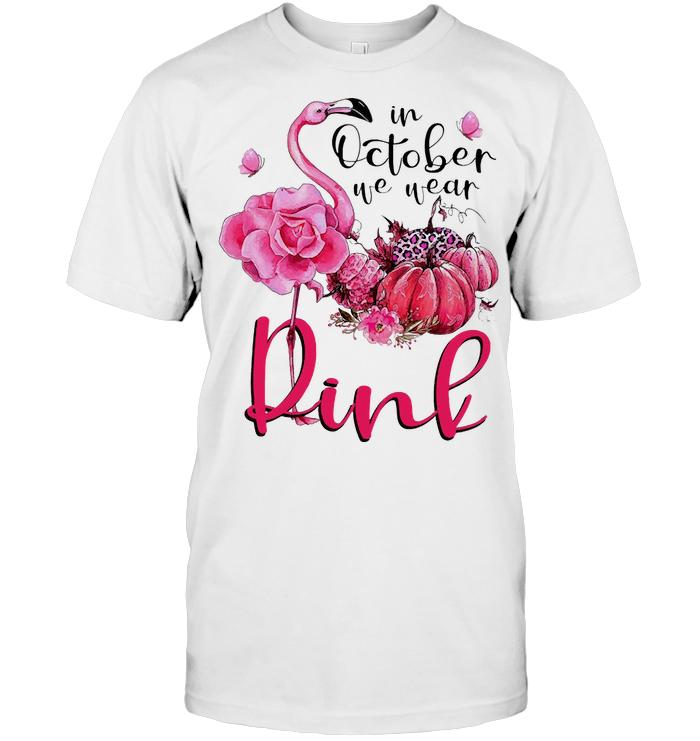 In October We Wear Pink Ribbon Flamingo Pumpkin T Shirt