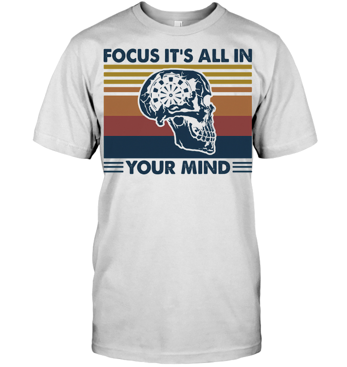 Darts Skull Focus It's All In Your Mind Vintage Retro T Shirt Classic Men's T-shirt