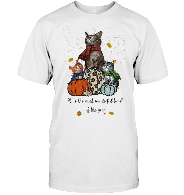 It's The Most Wonderful Time Of The Year Fall Cat Pumpkin Shirts T Shirt Unisex