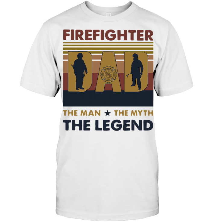 Firefighter Dad The Man The Myth The Legend Father's Day Vintage T Shirt Classic Men's T-shirt