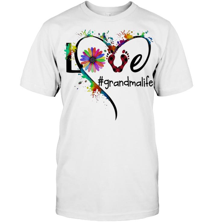 Love Grandma Life Flower Paw People Color T Shirt