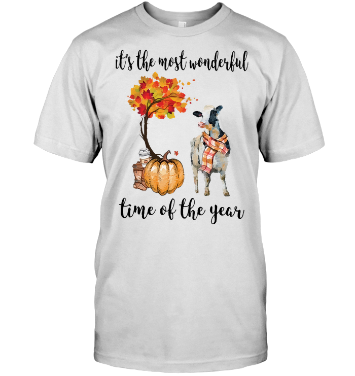 Fall Pumpkin It's The Most Wonderful Time Of The Year Cow T Shirt