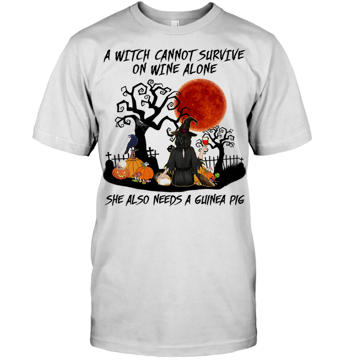 A Witch Cannot Survive On Wine Alone She Also Needs A Guinea Pig Blood Moon T Shirt Classic Men's T-shirt