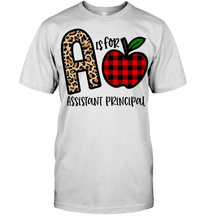 A Is For Assistant Principal Apple Buffalo Plaid T Shirt
