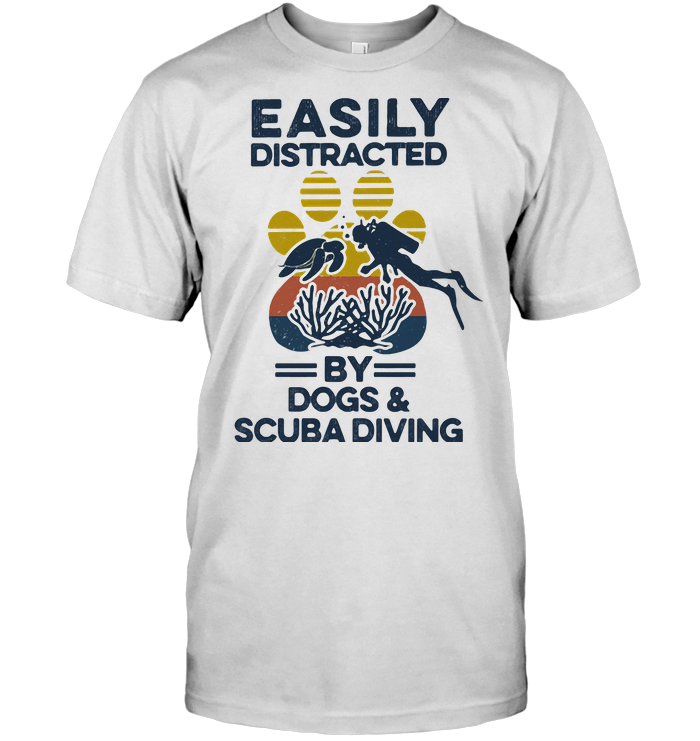 Easily Distracted By Dogs And Scuba Diving Footprint Vintage Retro T Shirt