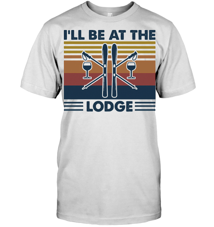 Skiing I'll Be At The Lodge Vintage Retro T Shirt