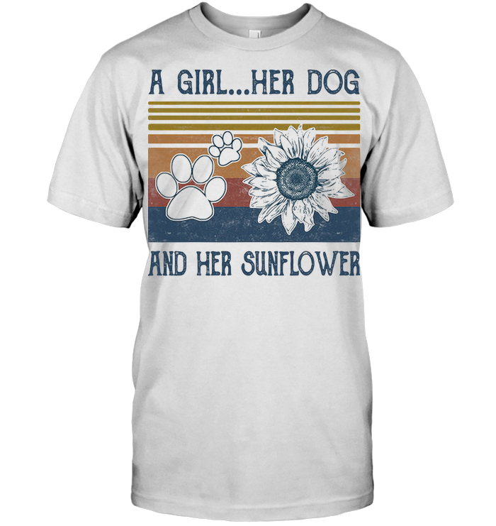 A Girl Her Dog And Her Sunflower Footprint Vintage Retro T Shirt Classic Men's T-shirt