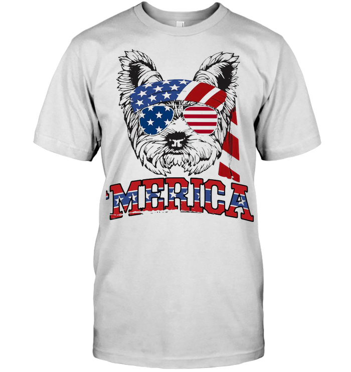 Yorkshire Terrier American Flag Veteran Independence Day T Shirt
