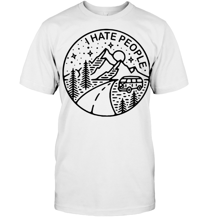 Lineart I Hate People Camping Caravan T Shirt
