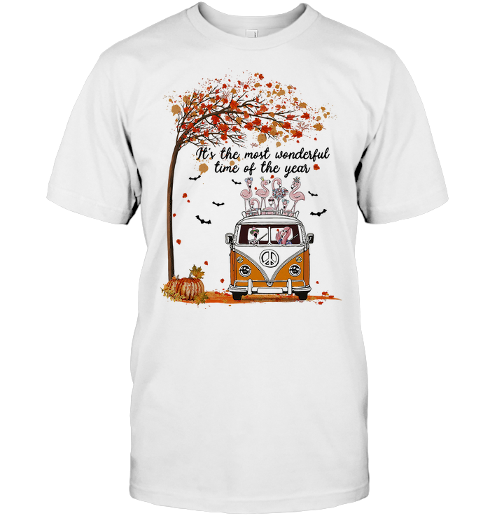 Hippie Car Flamingoes It's The Most Wonderful Time Of The Year Autumn T Shirt