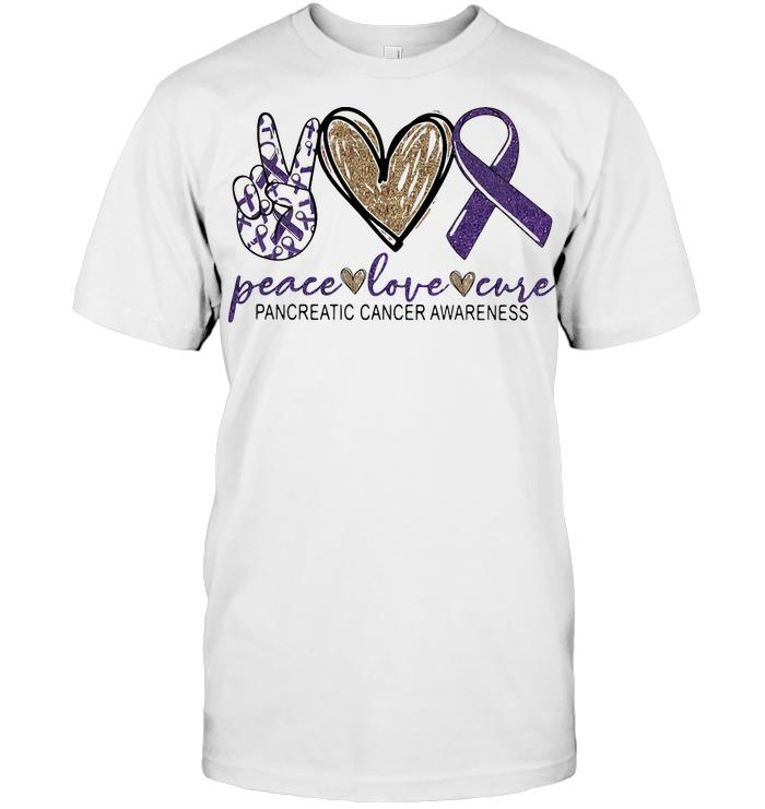 Peace Love Cure Pancreatic Cancer Awareness T Shirt